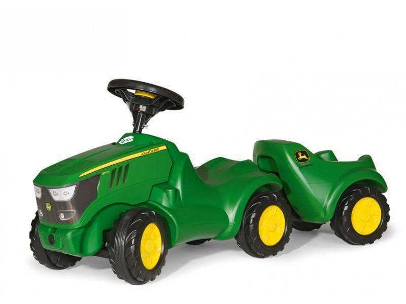 Mini tractor John Deere 6150 R con su remolque opcional width=