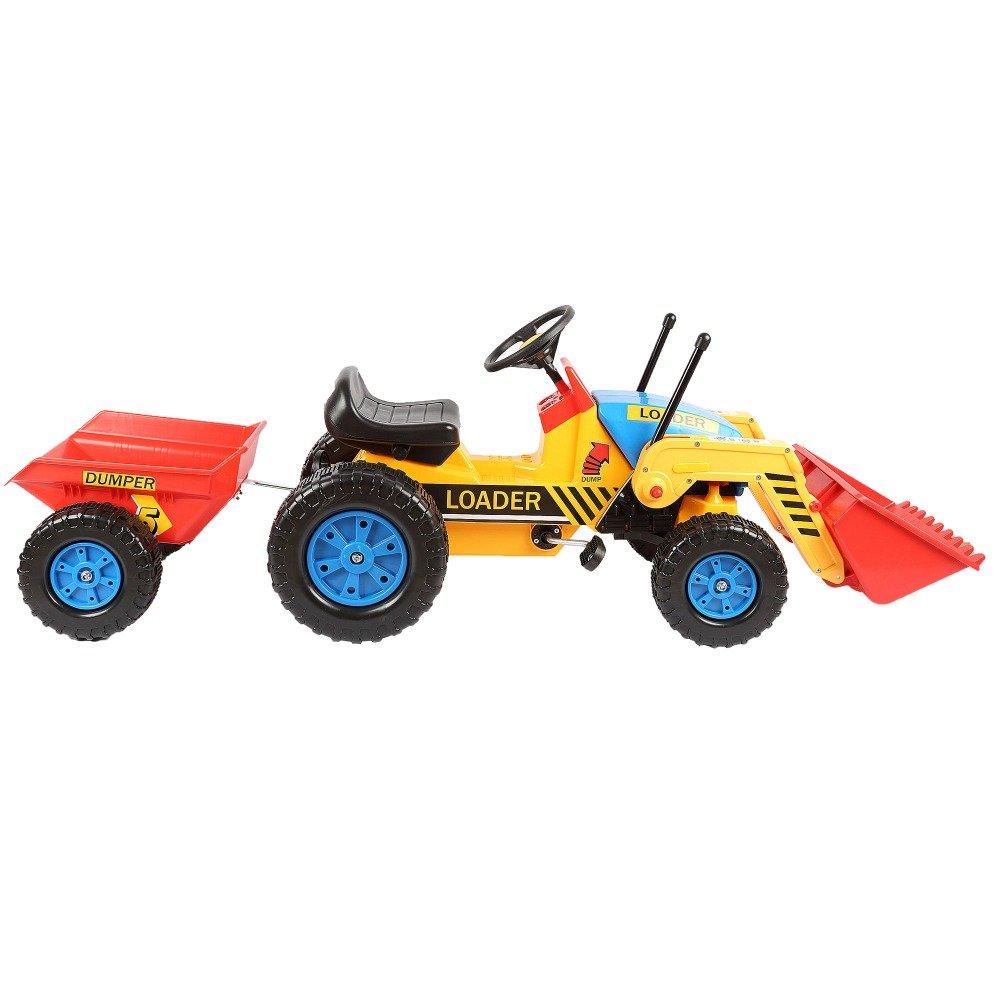 Tractor a pedales inforchess con pala excavadora delantera y remolque width=