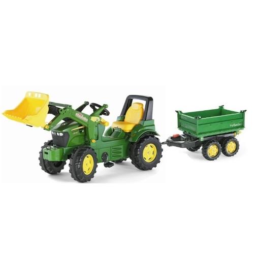 Tractor a pedales John  Deere con pala excavadora delantera y Remolque con llantas amarillas width=