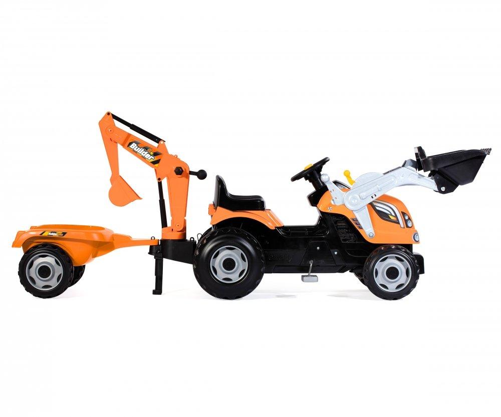 Imagen lateral del tractor builder max smoby con su pala articulada delantera, excavadora y remolque width=