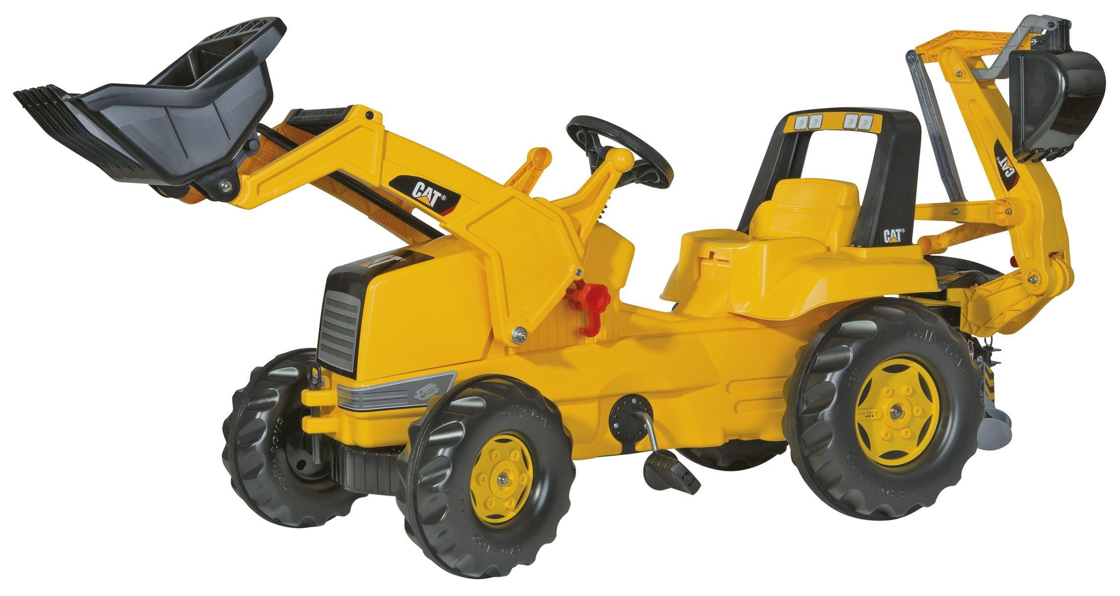Tractor cat con pala delantera y excavadora trasera
