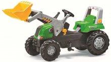 Tractor de pedales rolly junior verde con pala delantera y remolque john deere