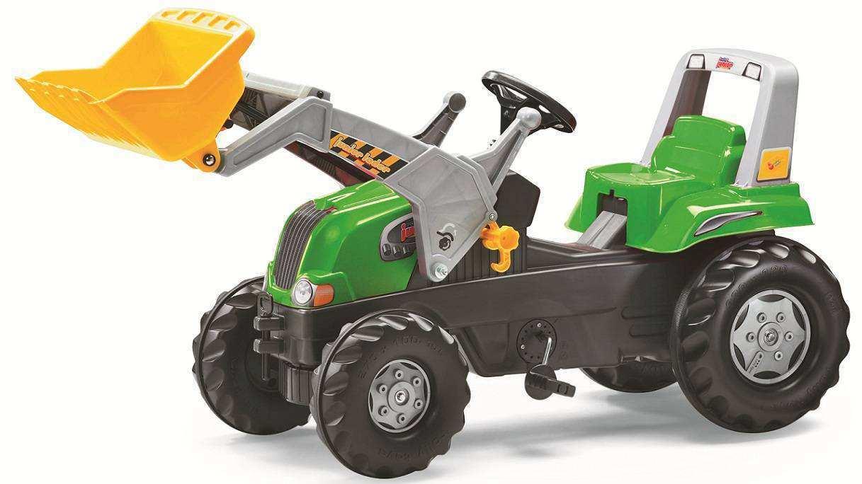 Tractor de pedales - rolly junior verde con pala excavadora delantera