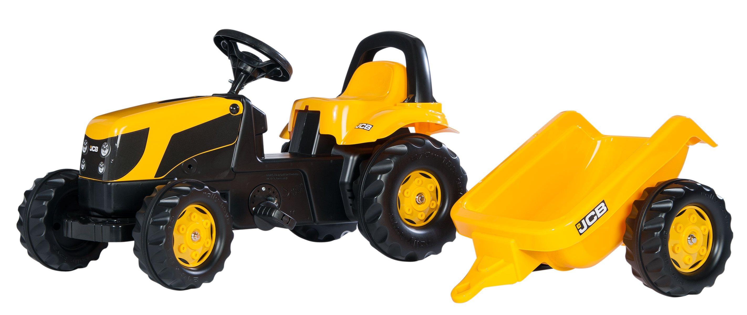 Tractor de pedales Jcb infantil con remolque width=