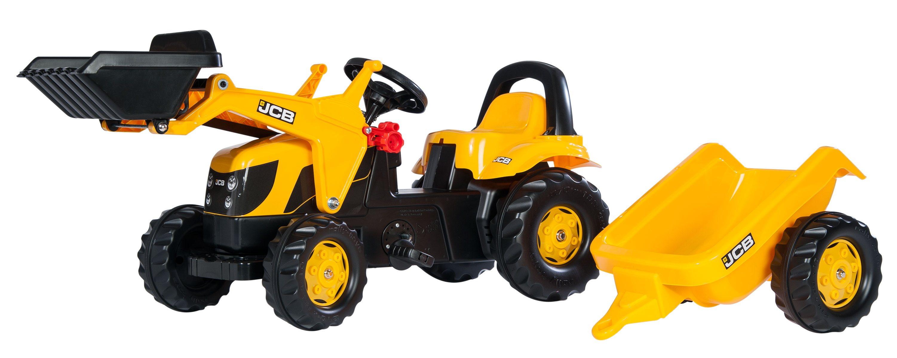 Tractor de pedales - jcb infantil con remolque y pala excavadora delantera width=