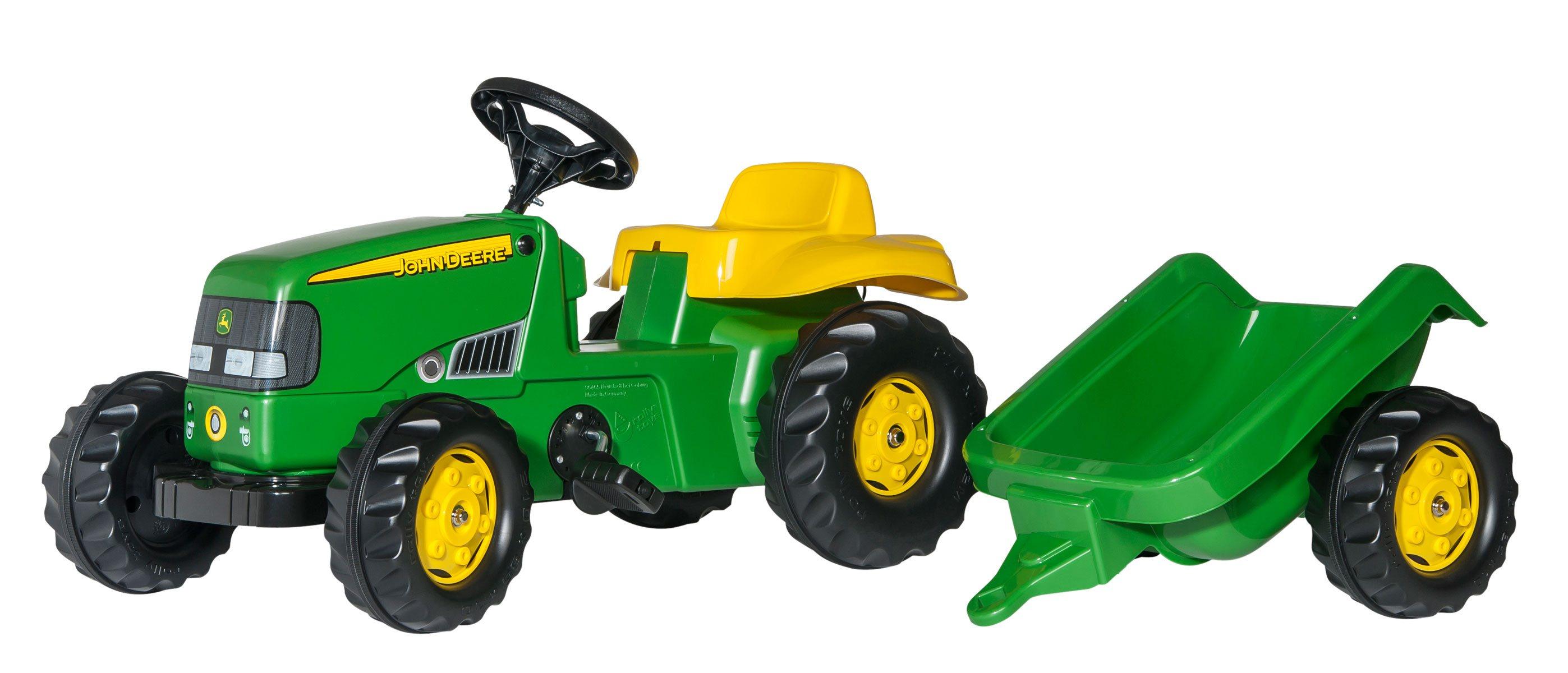 Tractor De Pedales - John Deere Infantil Con Remolque width=