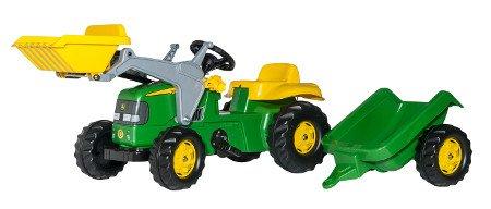 Tractor de pedales - John Deere infantil con remolque y pala excavadora delantera