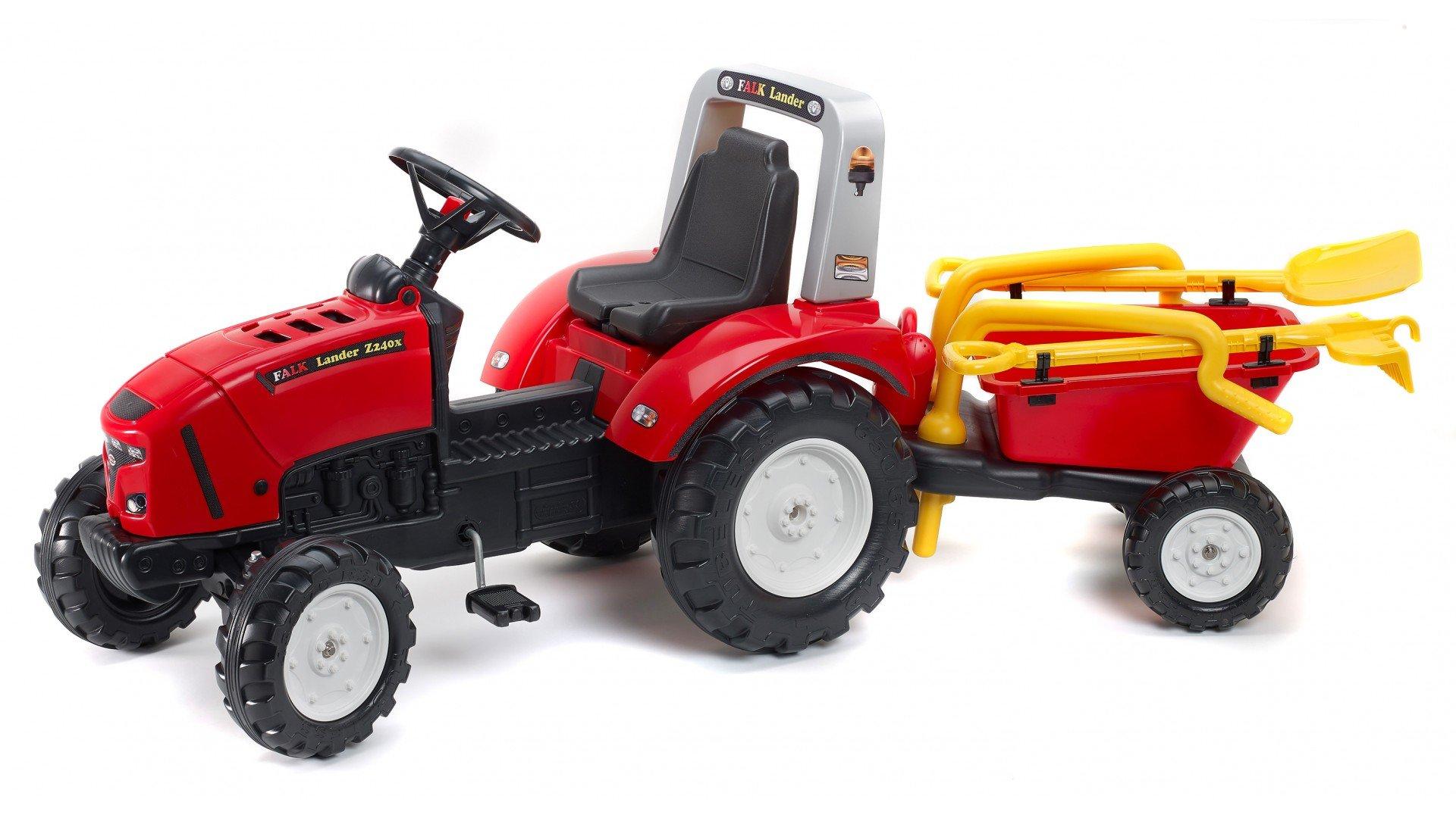 Tractor falk lander z240x rojo + remolque + accesorios