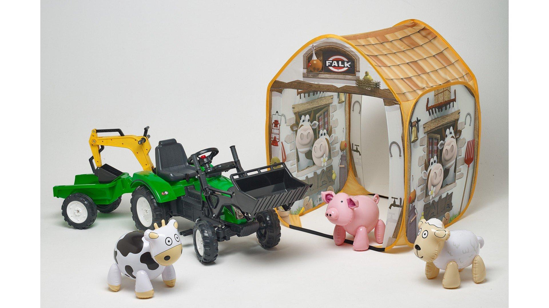 Tractor pedales ranch trac verde con pala delantera + trasera + remolque + granja con animales