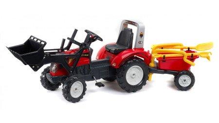 Tractor ranch tractor rojo + pala + remolque + accesorios