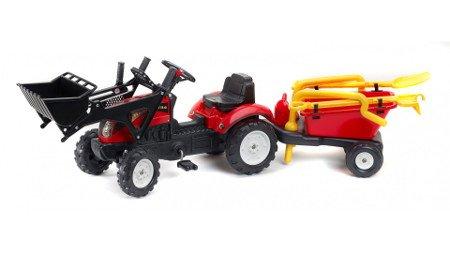 Tractor ranch rojo + pala + remolque + accesorios