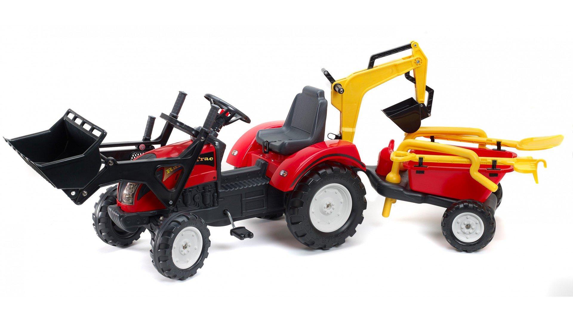 Tractor ranch rojo + pala frontal + retroexcavadora + remolque