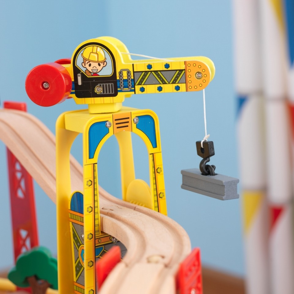 kidkraft juego de mesa de madera con circuito para trenes explorador de la ciudad 17985-004