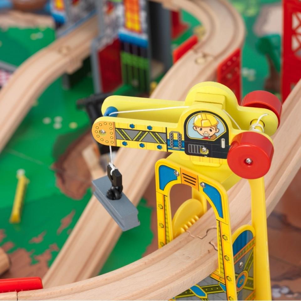 kidkraft juego de mesa de madera con circuito para trenes explorador de la ciudad 17985-007