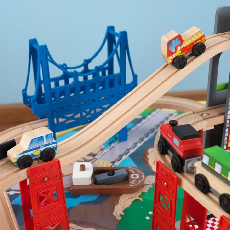 kidkraft juego de mesa de madera con circuito para trenes explorador de la ciudad 17985-008
