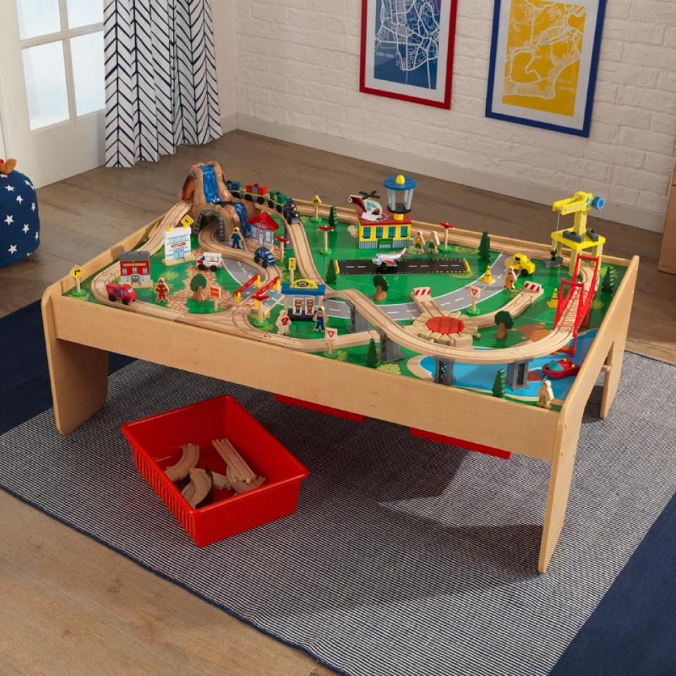 kidkraft juego de mesa de madera con circuito para trenes montaña y cascada 17850