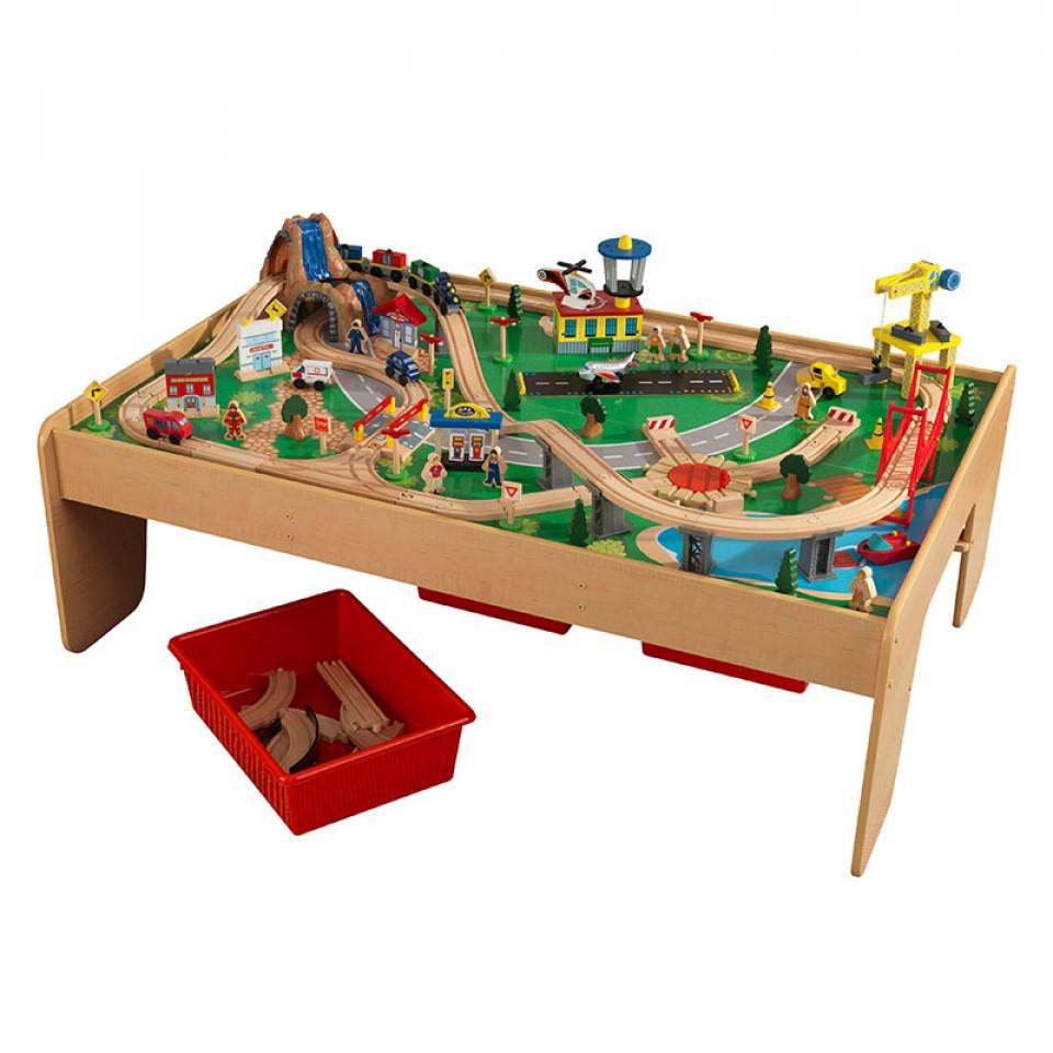Preciosa imagen con todos los detalles de kidkraft juego de mesa de madera con circuito para trenes montaña y cascada 17850