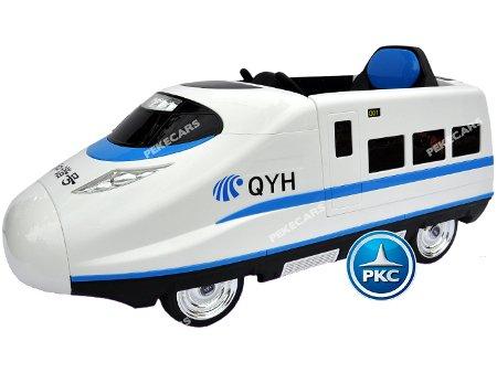 tren eléctrico infantil pekecars 12v blanco 1