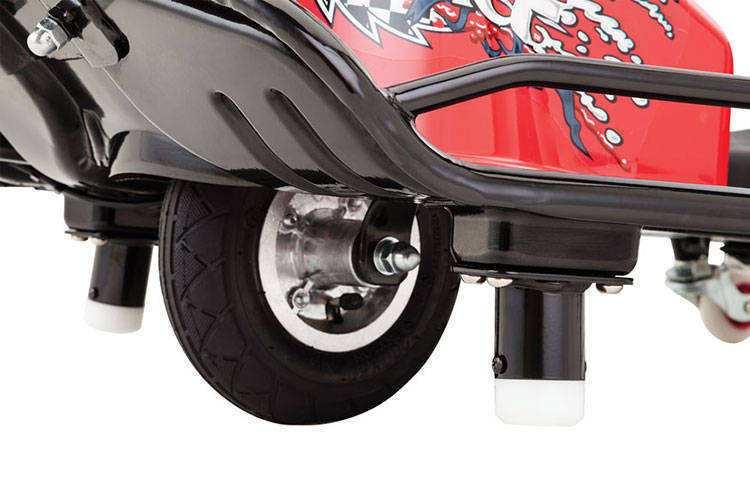Neumático delantero y postes estabilizadores del crazy cart razor width=