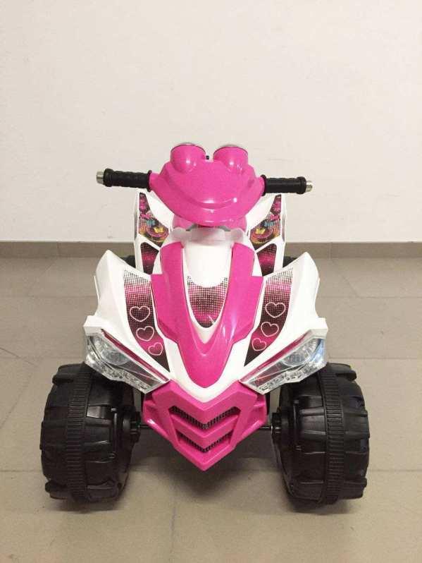 Quad pekecars doble velocidad rosa y blanco 12v 1