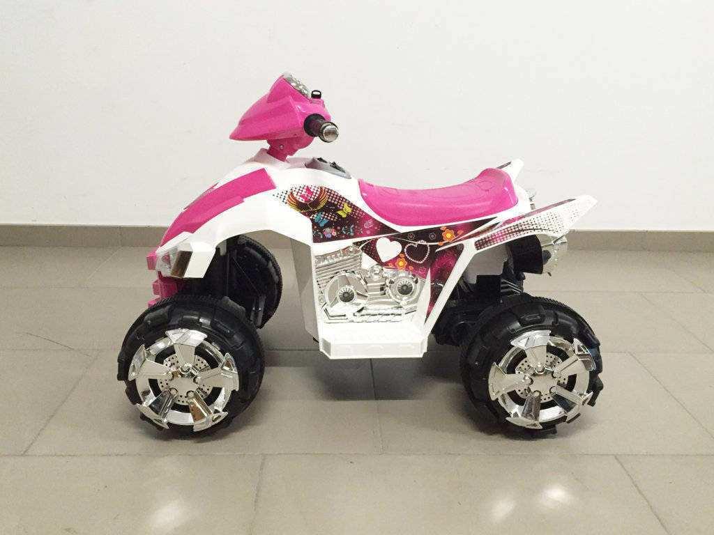 Quad pekecars doble velocidad rosa y blanco 12V 6