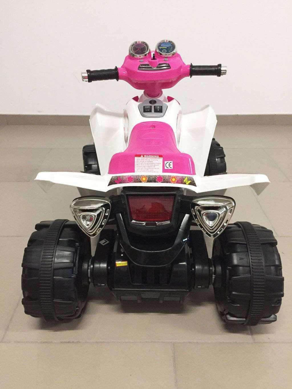 Quad pekecars doble velocidad rosa y blanco 12V 7