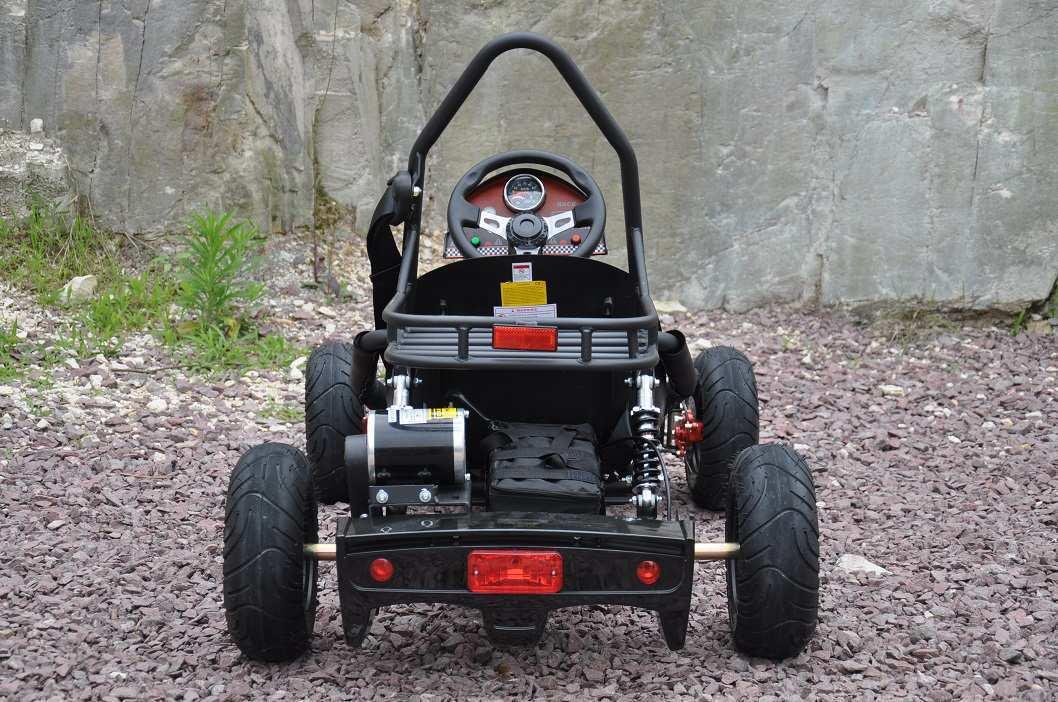 Vista trasera del kart eléctrico 500w 36v black pekecars