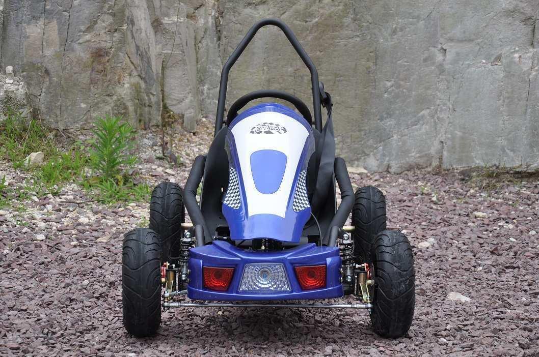Vista frontal del kart eléctrico 500w 36v blue pekecars width=