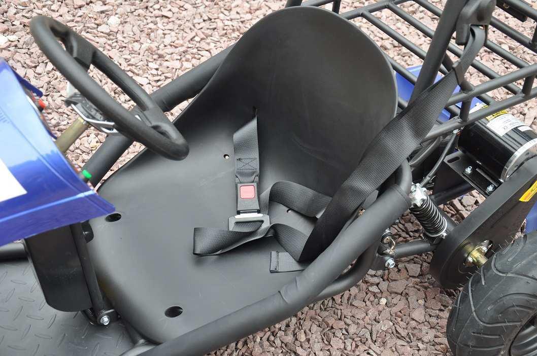 Detalle del asiento de kart eléctrico 500w 36v blue pekecars width=