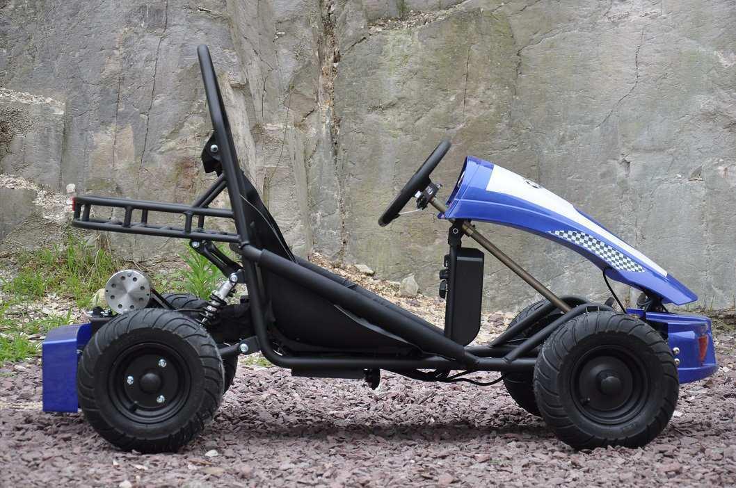 Vista lateral del kart eléctrico 500w 36v blue pekecars width=