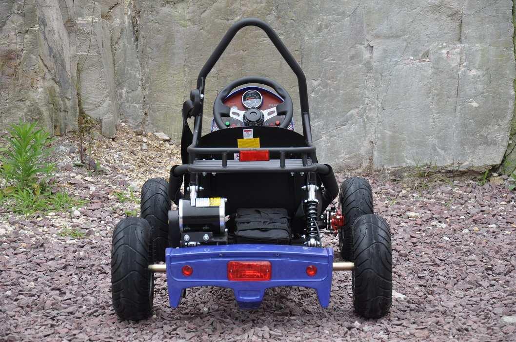 Vista desde atrás del kart eléctrico 500w 36v blue pekecars width=
