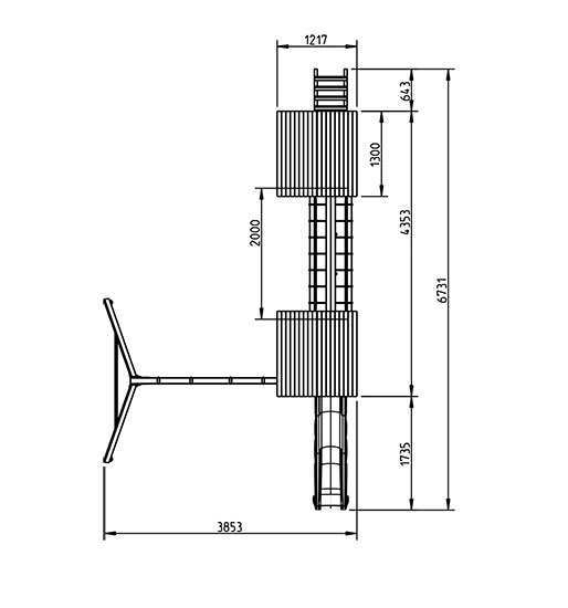 torre kiosk con doble columpio