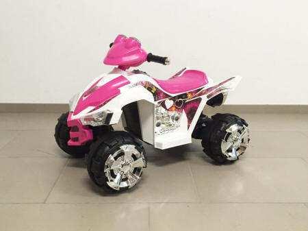 Quad pekecars doble velocidad rosa y blanco 12v