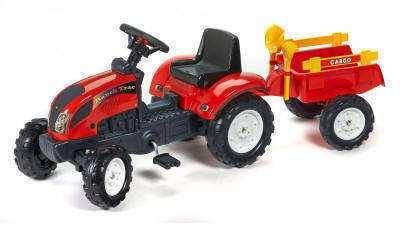 Tractor Pedales Ranch Trac rojo con remolque + pala y rastrillo