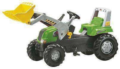 Tractor de pedales rolly junior verde con  pala excavadora delantera y remolque john deere