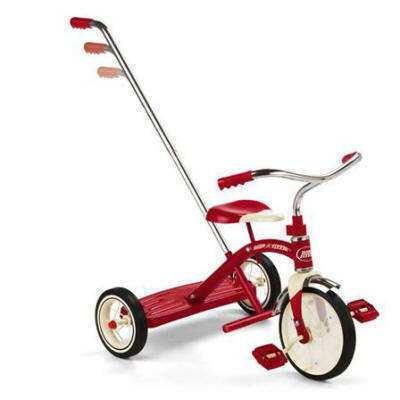 Triciclo clásico rojo con mango radio flyer